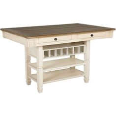 Dine with country charm with the Bolanburg Counter Height Table from the Bolanburg Two-Tone Dining Collection by Ashley Furniture. The pairing of a textured antique white finish on the table base and a rustic planked top in a gently distressed weathered oak finish creates a delightful two-tone vintage look. Four felt-lined drawers, three open shelves, and a wine rack in the table base provide plenty of extra storage.