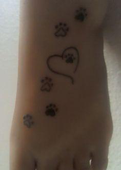 My foot tattoo. Paw prints. Animal Love.