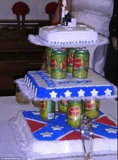 Ingenious: This quirky couple came up with the novel idea of using soda cans as cake tiers>    Redneck wedding, methinks??