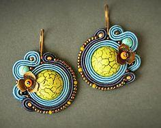 Blue soutache earrings  Bright earrings Women accessory Women gift Blue…