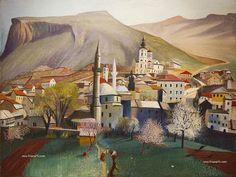 Tivadar Csontváry Kosztka - Springtime in Mostar Gravure, Love Art, Monet, Picasso, Gouache, Impressionism, Spring Time, Painting & Drawing, Jigsaw Puzzles