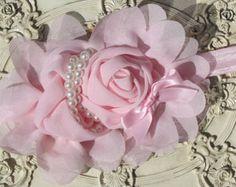Artículos similares a Venda del bebé: Chicas venda gasa roseta diadema diadema inspiración Vintage roseta diadema infantil cinta Rosette NO.14-22 en Etsy