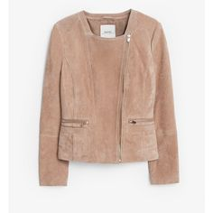 MANGO Zipped Suede Jacket (€60) ❤ liked on Polyvore featuring outerwear, jackets, zip jacket, mango jacket, zipper jacket, suede leather jacket and beige jacket
