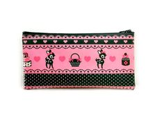 Lightweight Pink Vinyl Zippered Pouch Girly Deer Hearts Black And Pastel Pink Medium Pouch Sweet Lolita Wallet Pouch Small Case by blacktulipshop on Etsy