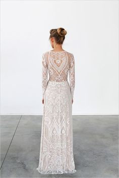 Allover lace wedding dress - back