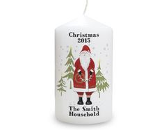 Father Christmas Candle £16.00 Candle is presented in organza bag. Approximately 58 hours burn time. Personalise this Father Christmas Candle with any name or message over 2 lines above the illustration of up to 15 characters per line and with 2 lines below the illustration with up to 15 characters per line. All personalisation is case sensitive and will appear as entered.