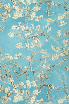 Wallpaper VanGogh Blossom (Turquoise, Pale green, Brown red, Green beige, Black brown) | Wallpaper from the 70s