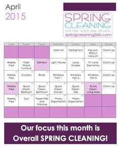 April Spring Cleaning Calendar