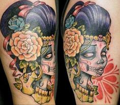 I LOVE  mexican sugar skulls...not only are they beautiful, they're symbols of strong beliefs & culture. Dia de Los Muertos... This is one of the best tattoos I've seen so far.