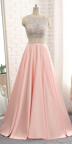 Sparkly Beaded 2 Pieces Prom Dress 2019 Custom Made Satin Beadings Long Pink School Dance Dresses Fahion Two Pieces Evening Party Dresses Pretty Prom Dresses, Party Wear Dresses, Ball Dresses, Beautiful Dresses, Party Dress, Sparkly Dresses, Long Dresses, Ball Gowns, Evening Dresses
