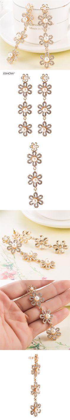 Christmas Gifts 8.2 Cm Bridesmaids Earrings Crystal Pearl Wedding Earrings Unique Brincos Earings Woman Vintage Jewellery
