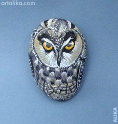 painted rocks: birds:Owl