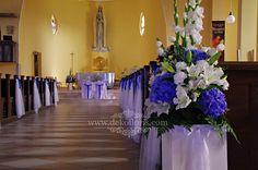 Niebieska dekoracja ślubna kościoła Opole Grudzice Table Decorations, Wedding, Ideas, Home Decor, Purple, Gladioli, Valentines Day Weddings, Decoration Home, Room Decor