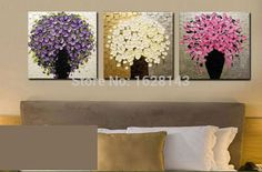 Free Shipping 3 Pieces Cheap Hand Painted Modern Wall Painting Home Decorative Kinfe Canvas Art Abstract Tree Oil Painting 3P84-in Painting & Calligraphy from Home & Garden on Aliexpress.com | Alibaba Group