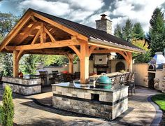 Rustic Outdoor Kitchens, Outdoor Kitchen Countertops, Outdoor Kitchen Design, Outdoor Rooms, Patio Design, Outdoor Living, Granite Countertop, Backyard Designs, Bathroom Countertops