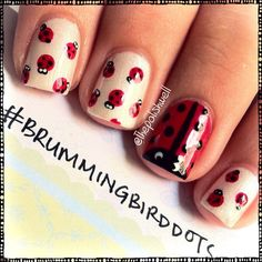 The Polish Well: Nail Ideas: Ladybug Nails! Funky Nail Art, Funky Nails, Cute Nails, Pretty Nails, Nails For Kids, Girls Nails, Soccer Nails, Ladybug Nails, Healthy Nails