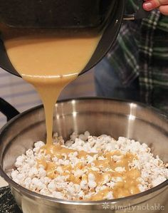 Easy Caramel Popcorn Recipe! Does not require baking.  Would have to sub out or omit peanuts, but sounds tasty and pretty easy.