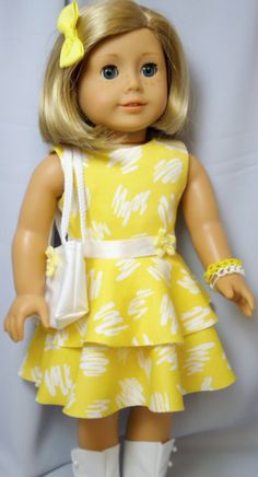 American Girl Doll Clothes,Yellow Summer Dress Outfit with Purse and Bracelet