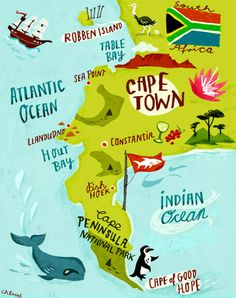 Items similar to Map Illustration Art Print of Cape Peninsula Cape Town South Africa on Etsy South Afrika, Namibia, Cape Town South Africa, South Africa Art, Ocean Park, Africa Travel, Africa Map, Travel Maps, Primates