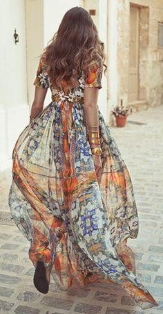 Printed Maxi Dress Streetstyle
