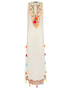 Hemant & Nandita EXCLUSIVE Embroidered Maxi Dress: A vibrant beach statement with embroidery at the split neckline. Self ties with playful poms. Slits at sides trimmed with bold colored tassels. Sleeveless. Sheer. In white. Fabric: 100% silk Made in India. Model Measurements: Height 5'10 1/2; Waist 24 ; ...