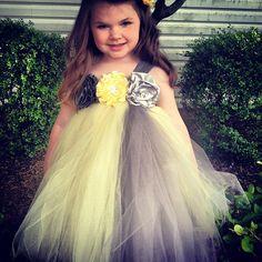 Flower Girl Dress. Yellow Grey Silver tuttu dress. by SewLovedEtsy, $80.00