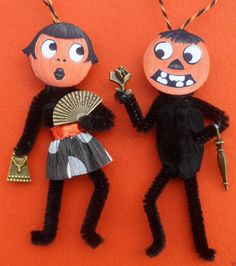 Pair 1920's Flapper Vintage Style Halloween Tree Ornaments | eBay