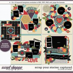Cindy's Layered Templates - Scrap Your Stories: Captured by Cindy Schneider Scrapbook Templates, Scrapbook Page Layouts, Scrapbook Pages, Photo Drop, Digital Scrapbooking, Scrapbooking Ideas, Capture Photo, Layout Template, Your Story