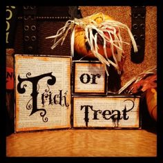 TRICK OR TREAT wooden blocks Halloween decor by twhitney78 on Etsy, $18.00