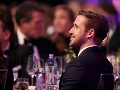 Ryan Gosling's funny faces during Emma Stone's SAG Award acceptance speech are way too cute
