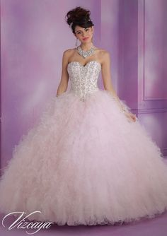 89005 Satin and Ruffled Tulle Quinceanera Dress with Beading