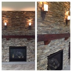 Unique fireplace with reclaimed wood mantel and natural stone surround  www.thorsonhomes.com