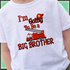 FIRETRUCK I'm going to be a BIG BROTHER Shirt by CustomTeesForTots