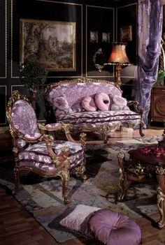 living room, antique, European, purples, black walls, trim, ornate MontanaRosePainter