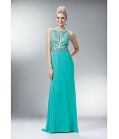 2014 Prom Dresses - Mint Floral Chiffon Evening Gown - Unique Vintage - Prom dresses, retro dresses, retro swimsuits.
