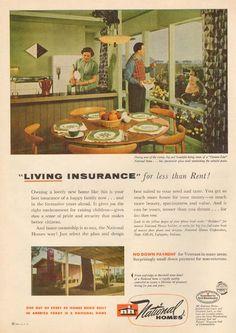 NATIONAL Homes MOBILE HOME Retro TRAILER PARK Pre Fab AD 1950s