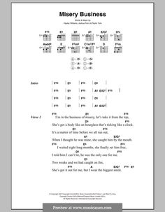 Paramore: Misery Business (lyrics and chords)