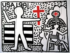 Keith Haring, Untitled, 1981. Sumi ink on paper, 72 × 84 in.