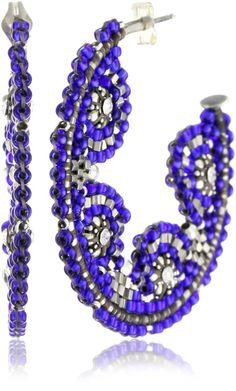 Miguel Ases Blue Bead and Sterling Silver Cluster Hoop Earrings