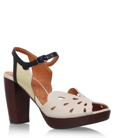 Chie Mihara White Leather Cut Out Detail Aloha Sandals