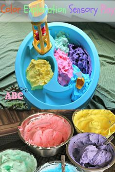 Color Exploration Sensory Play is perfect for letting your kiddos explore colors and sensory play at the same time! - abccreativelearning.com