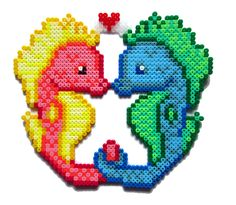 Lovely Seahorses perler bead sprite by AenysBeadArt on Etsy