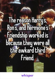 The reason Harry's, Ron's, and Hermione's friendship worked is because they were all the awkard third friend.