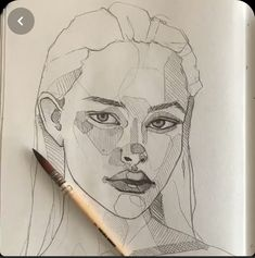 Girl Drawing Sketches, Art Drawings Sketches Simple, Pencil Art Drawings, Face Sketch, Portrait Sketches, Sketch Art, Portrait Art, Sketches Of Faces, Drawing Portraits