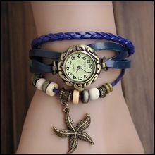 Moda malha pulseira de relógio do couro do vintage de decoração de couro mulheres vestido de relógios(China (Mainland))