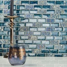 Our glass tile collection features stunning colors, sleek designs & unique shapes that will really make your room pop. Browse our glass tile flooring or glass wall tiles here. Rustic Bathrooms, Tile Bathrooms, Craftsman Bathroom, Glass Mosaic Tiles, Bathroom Interior, Bathroom Ideas, Bathroom Images, Bathroom Layout, Bathroom Gallery