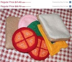 End of Year Sale Play food, pretend felt food, Whats for lunch by itsthesmallthings on Etsy https://www.etsy.com/listing/187539297/end-of-year-sale-play-food-pretend-felt