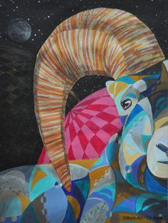 Steinbock mit Acryl gemalt, Bock-Art