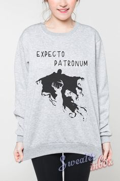 Expecto Patronum Sweatshirt Harry Potter Patronus Charm Deer Jumper Tee Tshirts Women Grey Sweater Unisex Shirt Size S M L