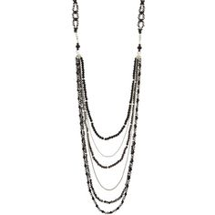 Nakamol Long Layered Crystal Necklace (180 HRK) ❤ liked on Polyvore featuring jewelry, necklaces, black, multiple chain necklace, multi strand chain necklace, multi-chain necklaces, long chain necklace and long layered necklaces